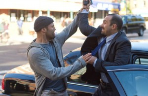 With actor Jason Statham- A scene from the movie Safe
