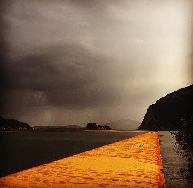 Lake Iseo on opening day June 18th in the late afternoon after the Floating Piers had to be evacuated due to the severe thunderstorm that was brewing