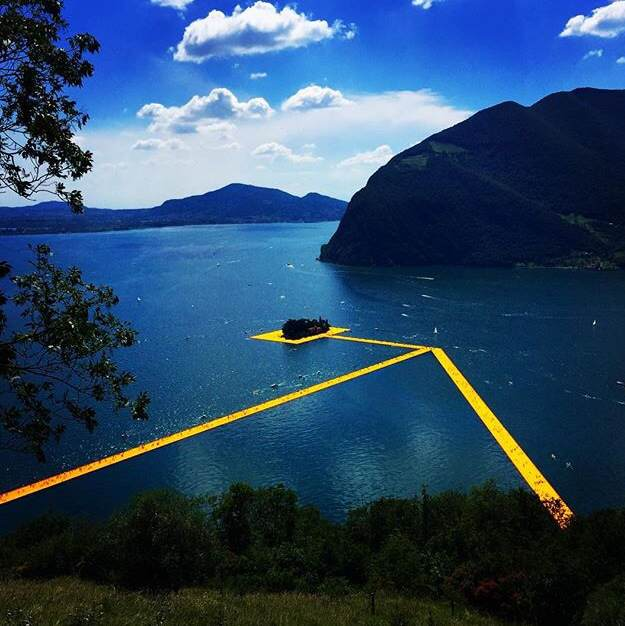 Lake Iseo the island of San Paolo surrounded by the Floating Piers seen from the island of Monte Isola