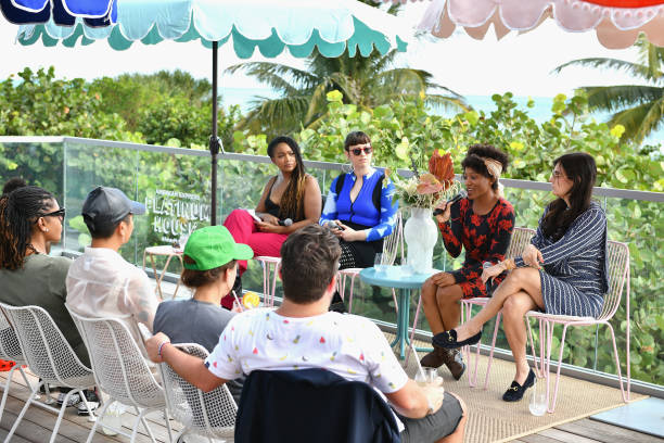 MIAMI, FL - DECEMBER 07: (L-R) Panelists Kimberly Drew, Becca McCharen-Tran, Jamilah Sabur and Jillian Mayer speak at the American Express Platinum House at 1 Hotel South Beach on December 6, 2018 in Miami, Florida. (Photo by Bryan Bedder/Getty Images for American Express)